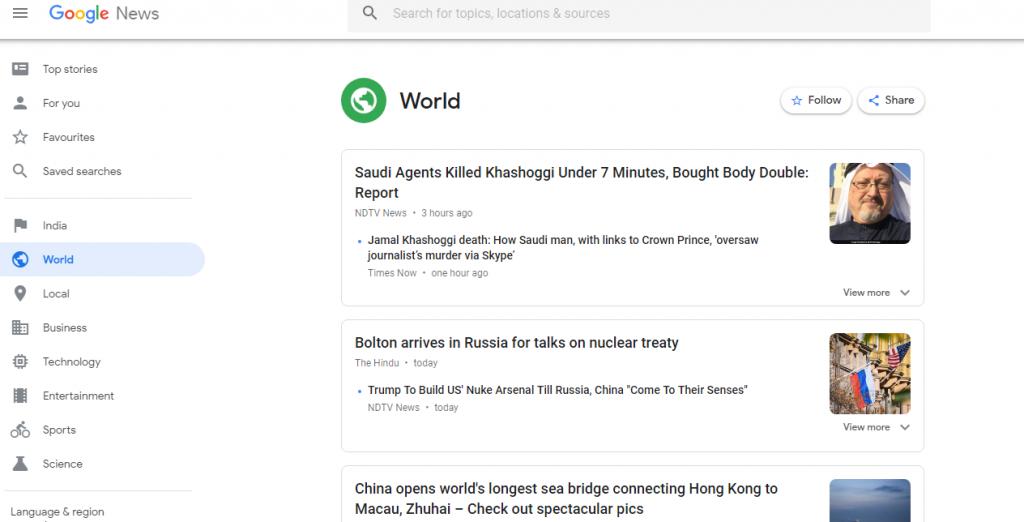 Google News Screen Shot