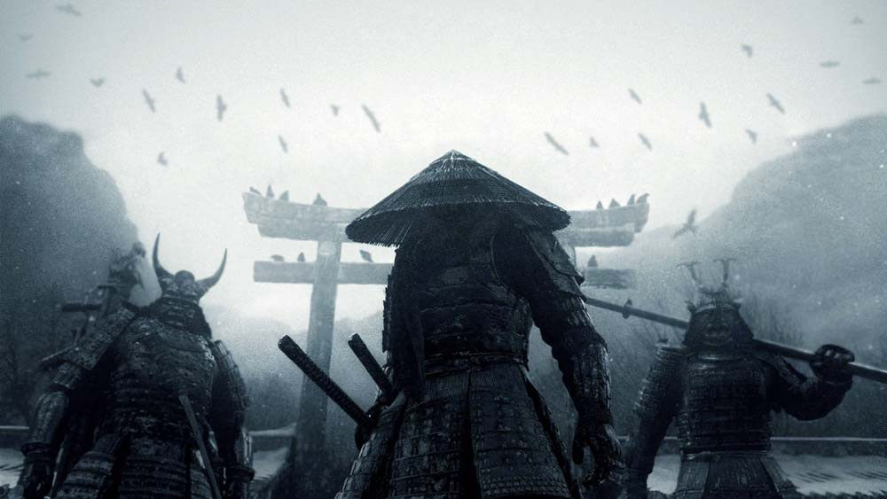 Movie shot of characters dressed as Samurai