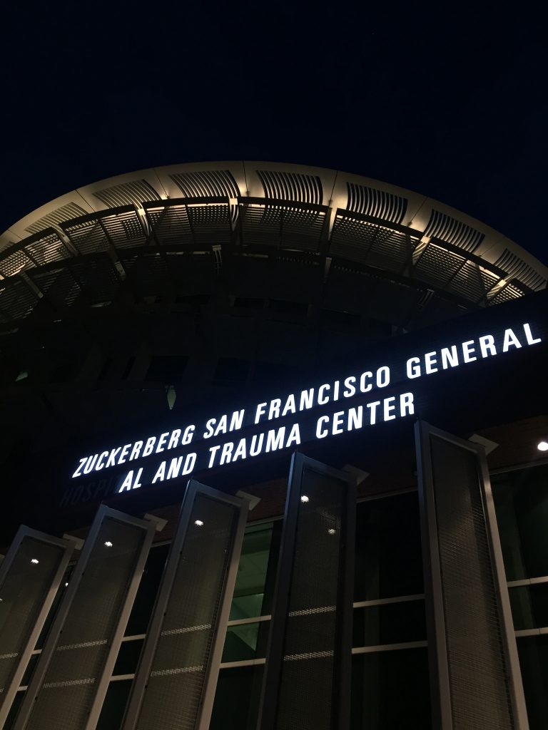 Zuckerberg Hospital at night