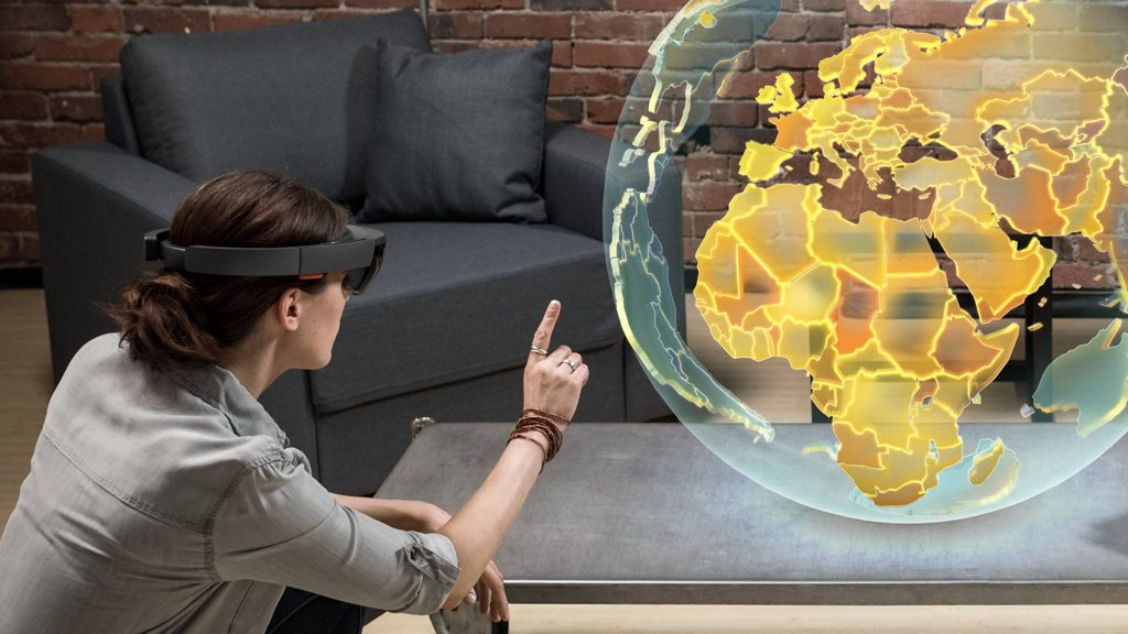 A participant interacting through the HoloLens