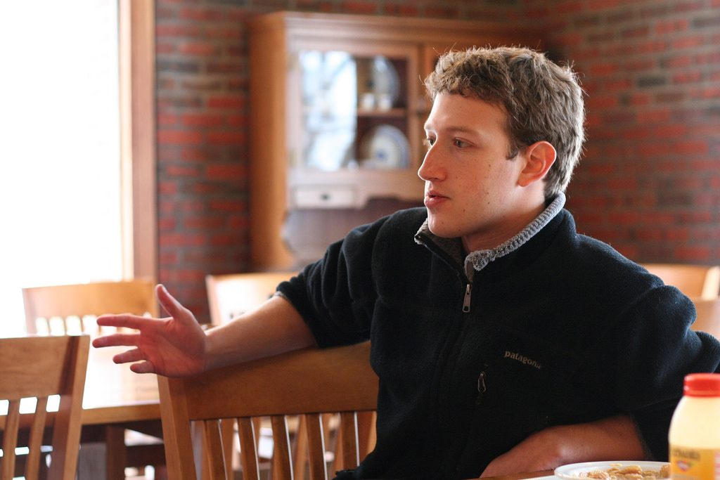 Mark Zuckerberg siting on a chair