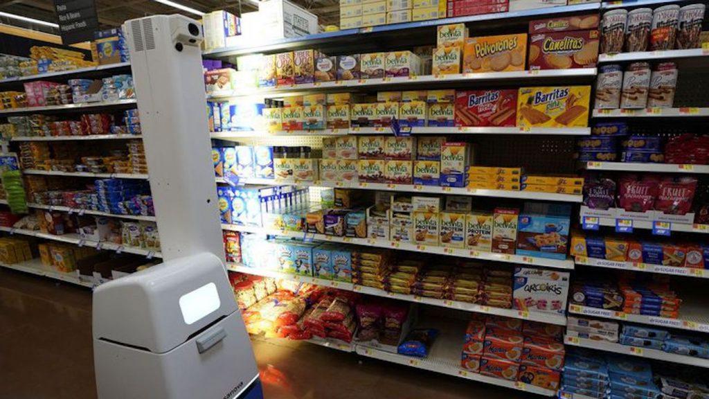 A shelf-scanning bot at Walmart