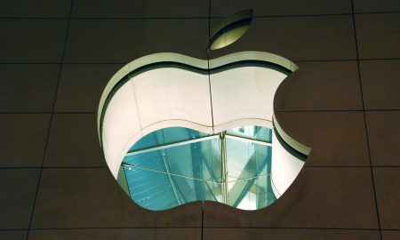 Apple logo on building