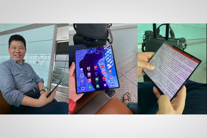 Huawei CEO holding Mate X foldable phone