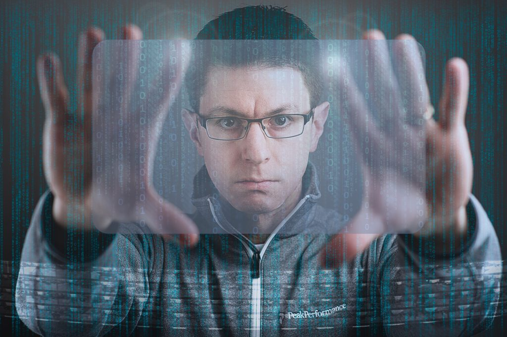 Man acting like in the movie Minority Report